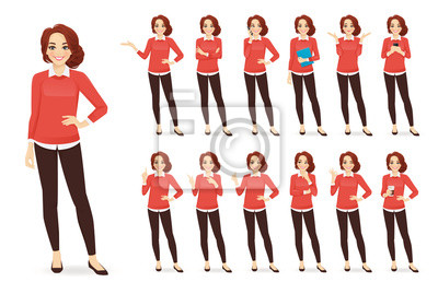 Papiers peints Casual business woman character in different poses set with red hair vector illustration