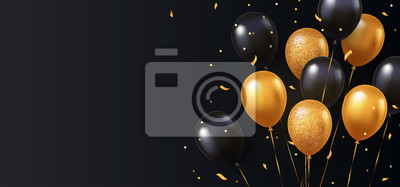 Papiers peints Celebration, festival background with helium balloons. Greeting banner or poster with gold and black realistic 3d vector flying balloons. Celebrate a birthday poster. Happy anniversary card.