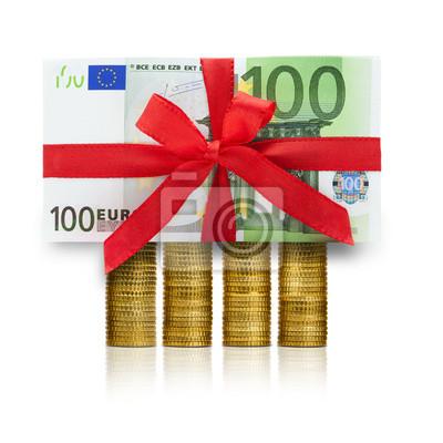 Cent billets et pièces en euros