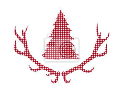 Cerf de cerf et arbre de Noël