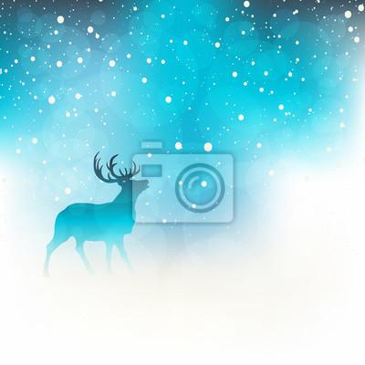 Cerf, neigeux, hiver, nuit
