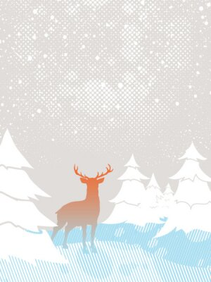 Cerfs dans la forêt - la saison d'hiver