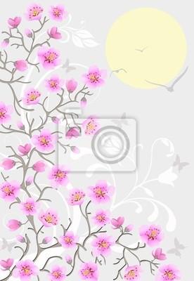 Cerisier Japonais Fleurs Par Jour Papier Peint Papiers Peints