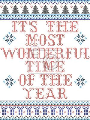 C'est le motif vectoriel de style scandinave le plus merveilleux de l'année inspiré par la culture nordique, hiver festif au point de croix avec cœur, flocons de neige, étoile, neige, sapin de Noël en