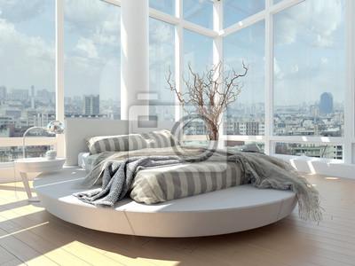 Chambre A La Decoration Moderne Avec Vue Paysage Urbain Papier Peint