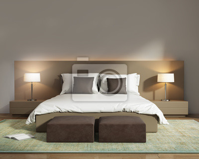 Chambre dhôtel contemporaine beige contemporaine avec tabourets ...