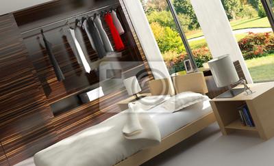 Chambre de luxe moderne dans un loft / interior design papier peint ...