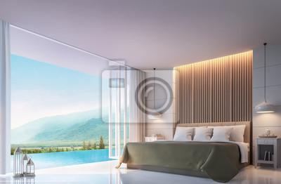 Papiers peints: Chambre moderne avec vue sur la montagne 3d rendering image.