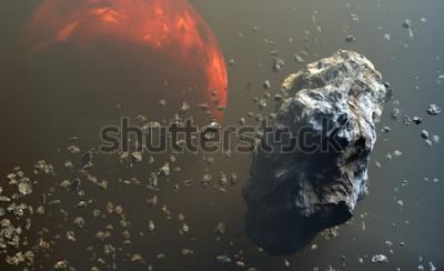 Papiers peints Champ d'astéroïdes ou de météorites dans l'espace extra-atmosphérique, formation de planètes. Illustration 3d