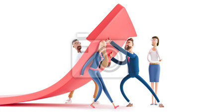 Papiers peints Change of a direction, planning new strategy. 3d illustration.  Cartoon characters. Business teamwork concept.
