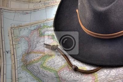 Papiers peints chapeau de feutre sur cru, avertissez carte de l'Amérique du Sud