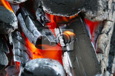 charbon de bois rouge, le feu, foyer de chaleur