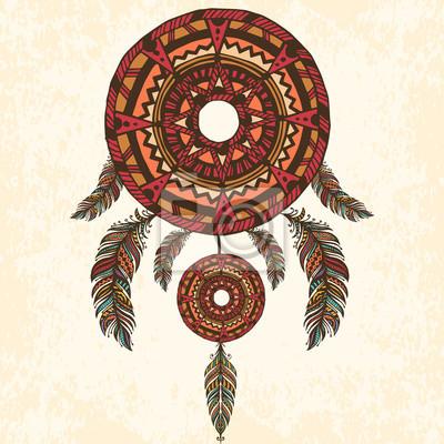 Chasseur de rêve, plumes. Illustration vectorielle dessinée à la main.
