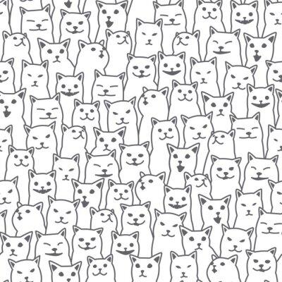 Papiers peints Chat chaton race doodle Vecteur Seamless Pattern papier peint isolé fond blanc