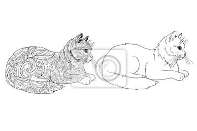 Chat Coloriage Page Doodle Contour Chat Animal Decoratif Papier Peint Papiers Peints Ethnique Tribal Imprimer Myloview Fr
