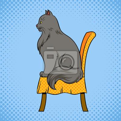 Papiers Peints Chat Masculin Est Assis Sur Le Vecteur De Chaise Pop Art
