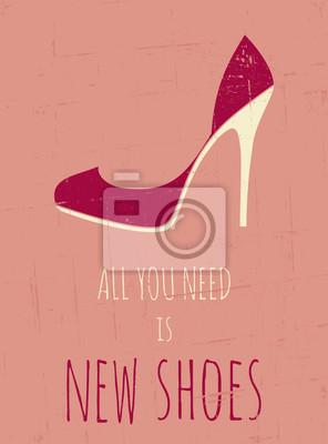 Chaussures à talons rétro affiche haut