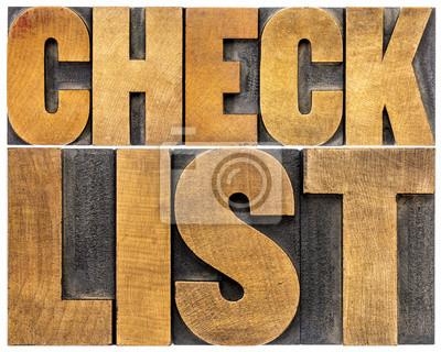 Papiers peints checklist word typography