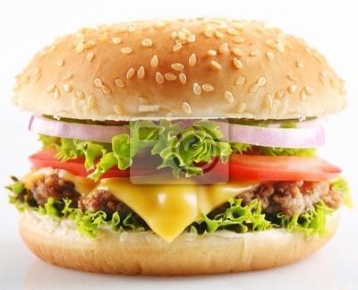 Cheeseburger sur un fond blanc