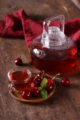 cherry berry tea on a wooden table