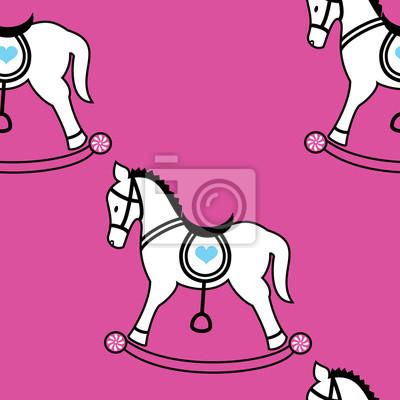 Cheval à bascule icônes seamless wallpaper sur fond rose
