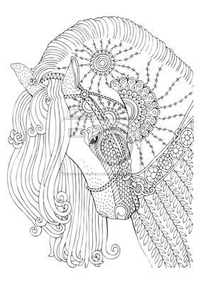 Coloriage Cheval Zen.Papiers Peints Cheval Image Dessinee A La Main Croquis Pour Livre De Coloriage