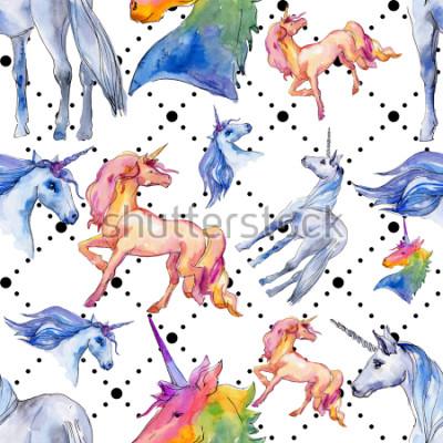 Papiers peints Cheval licorne mignon. Les enfants de conte de fées font de beaux rêves. Motif de fond transparent de corne animal arc-en-ciel. Texture de papier peint en tissu. Sauce aquarelle