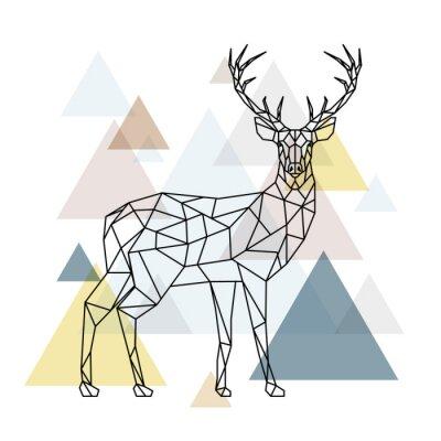Papiers peints Chèvre polygonale abstrait. Illustration d'hipster géométrique. Le renne avec vue latérale. Style scandinave.