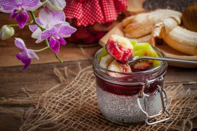 Chia seed pudding with fruit.