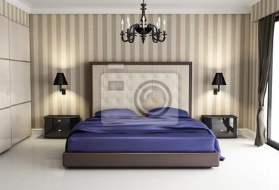 Chic Biege Hôtel De Luxe Violet Chambre à Coucher à Lavant Papier