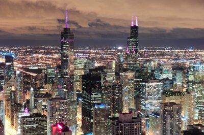 Papiers peints Chicago, urbain, aérien, vue, crépuscule