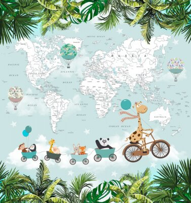 Papiers peints children's picture animals are traveling in the sky with a map of the world