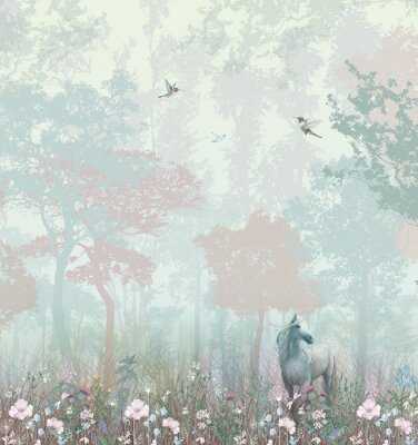Papiers peints Children's wallpaper. Blue and pink forest. Fairy forest with horse and caliber.