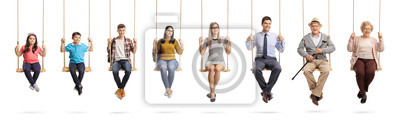 Papiers peints Children, young people and seniors sitting om swings and smiling