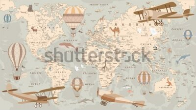 Papiers peints childrens retro world map with animals airplanes and balloons