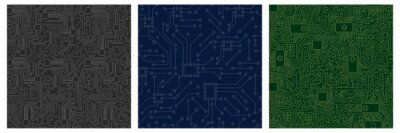 Papiers peints Chip computer board pattern set. Motherboard modern with seamless pattern green blue monochrome abstract vector lines processor chip video card digital graphic engineering of computer equipment.