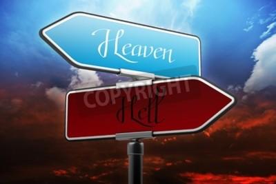 Ciel et l'enfer des signes. Choose Your Own Way Life. Résumé Concept Illustration.