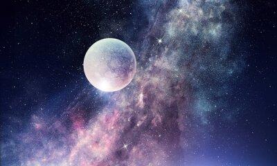 Papiers peints Ciel étoilé et lune. Technique mixte