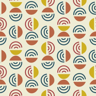 Circle and line shapes abstract modern seamless pattern. Blue yellow repeat background for wrap, textile and print design.