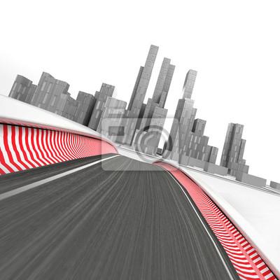 circuit de course menant à la ville de gratte-ciel moderne sur blanc rendre