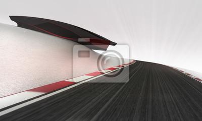 circuit de vitesse de premier plan sous le papier peint de bâtiment futuriste