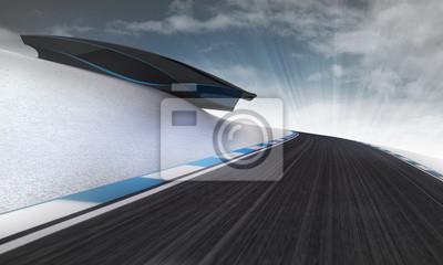 circuit de vitesse de premier plan sous un bâtiment futuriste avec ciel