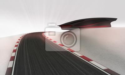 circuit de vitesse menant à l'extérieur autour de papier peint futuriste