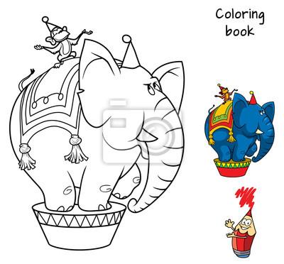 Papiers Peints Cirque Elephant Et Singe Livre De Coloriage Illustration Vectorielle