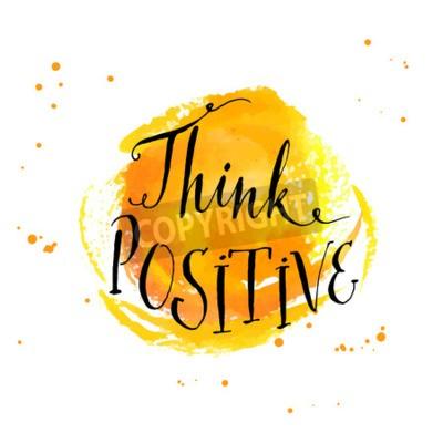 Papiers peints Citation inspirée de calligraphie moderne - pensez positif - au fond d'aquarelle jaune