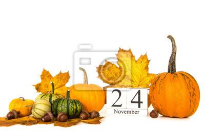 Citrouilles, automne, feuilles, date, 24, novembre, thanksgiving, blanc, fond