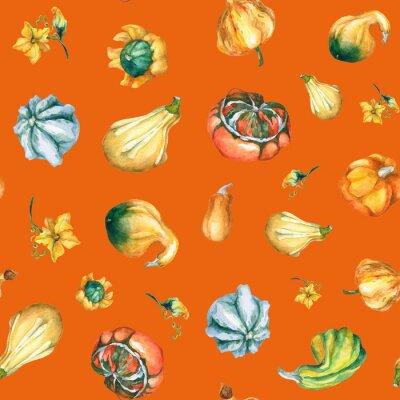Citrouilles. Motif, décoratif, Citrouilles, aquarelle, peinture
