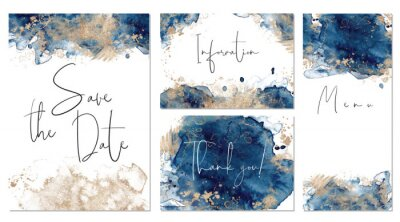 Papiers peints Classic blue and gold wedding set with hand drawn watercolor background. Includes Invintation, menu, information and thank you cards templates