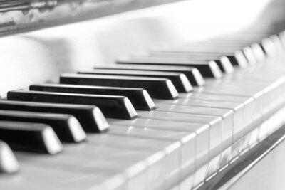 Papiers peints Clavier de piano. Image en noir et blanc avec mise au point sélective