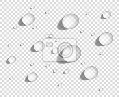 Papiers peints Clear round water drops on smooth surface, realistic vector illustration